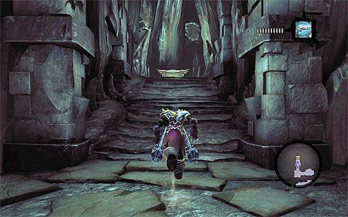 Skieruj się do dalszej części jaskini i zauważ, że użycie przełącznika doprowadziło do podniesienia się drugiego mostu zwodzonego - Znajdź Wiekuisty Tron (2) - Władca Kości - Darksiders II - poradnik do gry