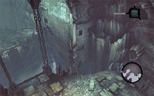 Zeskocz bezpiecznie na dół, a następnie powróć do słupa i ponownie przeskocz na dolną interaktywną krawędź - Znajdź Wiekuisty Tron (2) - Władca Kości - Darksiders II - poradnik do gry