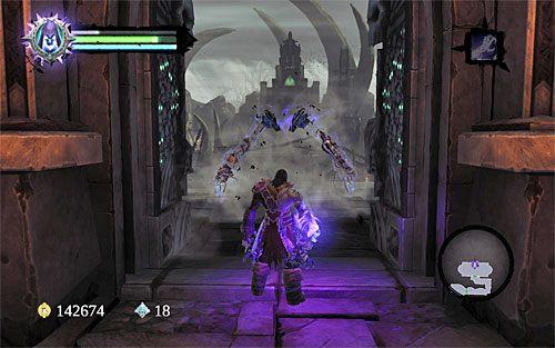 Zlikwiduj szkieleta okupującego ten balkonik i zajrzyj do skrzyni - Znajdź Wiekuisty Tron (2) - Władca Kości - Darksiders II - poradnik do gry