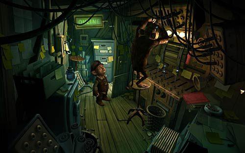 Przyjrzyj się małpie dwukrotnie (Look at Server, the hairy demon) i spróbuj zagadać - Jak przerwać grę RPG? - Rozdział 2 - In the Town - The Book of Unwritten Tales - poradnik do gry
