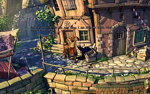 Zobaczysz kupca walczącego z super małym przestępcą, Królem Złodziei (King of Thieves) - Wilbur zostaje magiem (1) - Głodne szczury - Rozdział 2 - In the Town - The Book of Unwritten Tales - poradnik do gry