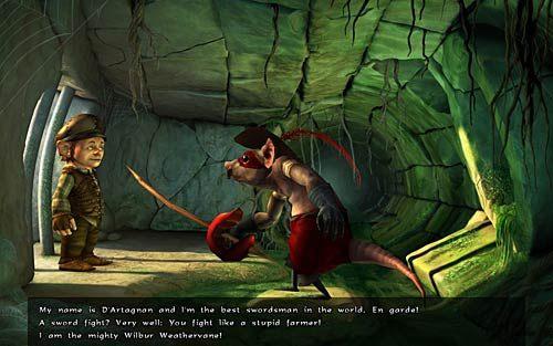 W kanałach porozmawiaj ze szczurem wyczerpując wszystkie opcje dialogowe - Wilbur zostaje magiem (1) - Głodne szczury - Rozdział 2 - In the Town - The Book of Unwritten Tales - poradnik do gry
