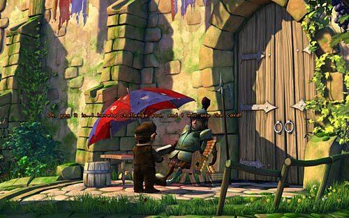 Ponownie idź do strażnika i pokaż mu zasady (Show the town guard the rules) - Wilbur zostaje magiem (1) - Głodne szczury - Rozdział 2 - In the Town - The Book of Unwritten Tales - poradnik do gry