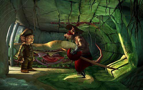 Wejdź do kanałów i powiedz szczurowi, że masz kanapkę (Ive got a giant sandwitch for you - Wilbur zostaje magiem (1) - Głodne szczury - Rozdział 2 - In the Town - The Book of Unwritten Tales - poradnik do gry