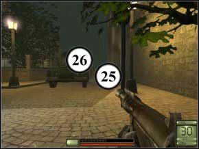 Idź prosto, omiń drabinę, zabij dwóch strażników (każdy wybiegnie z innej strony) na końcu uliczki (27) (28), potem wróć się do drabinki i wejdź na górę - Praga - Soldier of Fortune 2: Double Helix - poradnik do gry