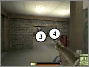 Dostaniesz się do hangaru, najpierw rozpraw się z żołnierzem stojącym tyłem (5), potem zastrzel jednego naprzeciwko, po drugiej stronie pomieszczenia (6), a następnie dwóch na dole (7) (8) - Praga - Soldier of Fortune 2: Double Helix - poradnik do gry