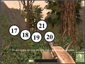 Wyjmij M4, otwórz drzwi i strzel z granatu (drugi tryb) z jednoczesnym wycofaniem - żołnierze (22) i (23) będą martwi - Colombia - Soldier of Fortune 2: Double Helix - poradnik do gry