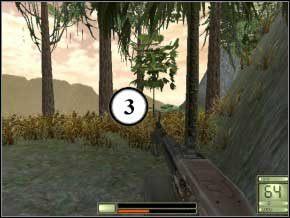 Po prawej jest dwóch żołnierzy, możesz mieć duże trudności z ich zabiciem - podbiegnij i stań za drzewem, wychylając się zabij obu, uważaj, aby cię nie obeszli (4) (5) - Colombia - Soldier of Fortune 2: Double Helix - poradnik do gry