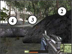 Biegnij dalej, za trawą będzie trzech kolejnych przeciwników - umiejętnie puszczony granat z M4 powinien załatwić wszystkich (5) (6) (7) - Colombia - Soldier of Fortune 2: Double Helix - poradnik do gry