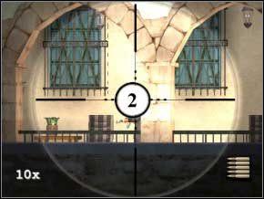 Idź w prawo, zacznij strzelać ze snajperki - zabij dwóch stojących przy wejściu do posiadłości (3) (4), potem poczekaj chwilę na trzeciego (5) - Vergara - Soldier of Fortune 2: Double Helix - poradnik do gry