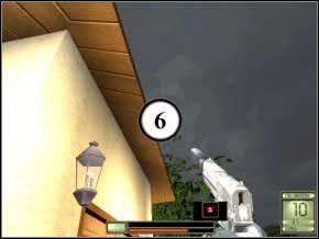Po prawej patroluje dwóch, pomiędzy murem, a domkiem po lewej jest jeszcze jeden - kolejność ich uśmiercania pozostawiam tobie, najlepiej strzelać ze snajperki (7) (8) (9) - Vergara - Soldier of Fortune 2: Double Helix - poradnik do gry