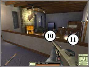 Idź prosto, do większej sali - naprzeciwko będzie pierwszy przeciwnik (1), a zaraz po lewej - kolejny (2) - Vergara - Soldier of Fortune 2: Double Helix - poradnik do gry