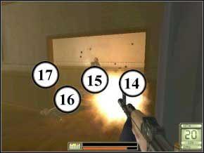 Potem wyjdź na korytarz, w lewo, ukryj się za rogiem, wychyl i zabij kolejnych trzech przeciwników w środku (18) (19) (20) - Vergara - Soldier of Fortune 2: Double Helix - poradnik do gry