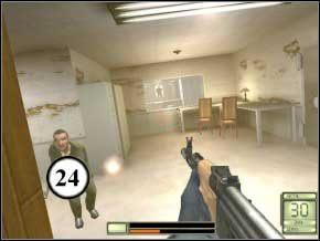 Otwórz stalowe drzwi (klawisz użycia) i wejdź tyłem, patrząc na drzwi - pojawi się dwóch strażników, których zabij (25) (26) - Vergara - Soldier of Fortune 2: Double Helix - poradnik do gry