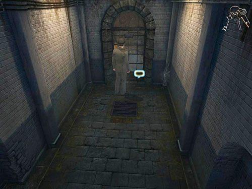 Podaj strażnikowi klucze przez kratę (przy uaktywnionych w ekwipunku kluczach kliknij dymek w dole kraty) - Uruchom alarm - Ucieczka z więzienia Westgate - Testament Sherlocka Holmesa - poradnik do gry