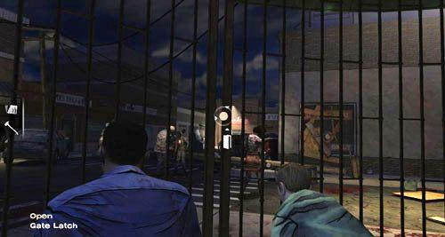 Dlatego użyj topora na kłódce, aby ją odłamać (Lock), przesuń kratę celując w miejsce, w którym przed chwilą była kłódka, (Open: Gate Latch), a potem weź cegłę leżącą tuż przed kratą (Take: Brick) i rzuć nią w szybę sklepu z telewizorami (TV Store) - 6 - Hey, Bud - Epizod I - A New Day - The Walking Dead - poradnik do gry