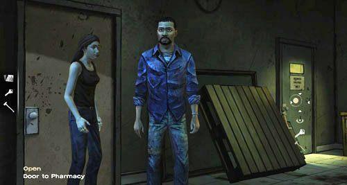 Użyj kluczy na drzwiach (Open: Door to Pharmacy), a potem po prostu wejdź do środka - 6 - Hey, Bud - Epizod I - A New Day - The Walking Dead - poradnik do gry