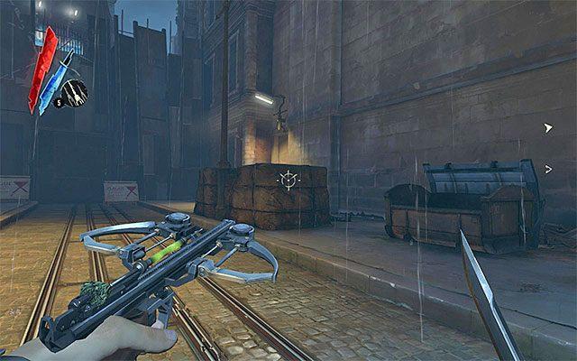 Drugi wariant zakłada udanie się do drzwi znajdujących się na końcu głównej drogi na lewo od budynku Nadzorcy Campbella (Back Alley - powyższy screen) - Dotarcie do podwórza - Misja 2 - High Overseer Campbell - Dishonored - poradnik do gry