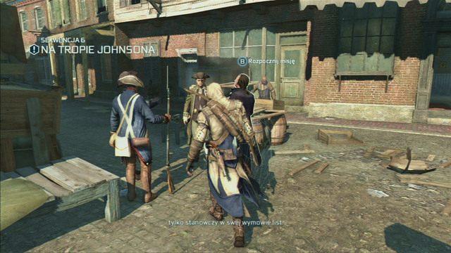 Możesz przenieść się równie szybko na nabrzeże, gdzie czeka na ciebie Samuel Adams - Sekwencja 6 - Na tropie Johnsona | Solucja Assassins Creed 3 - Assassins Creed 3 - poradnik do gry