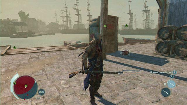 Podnieś je za pomocą przyciska interakcji, podłóż obok pakunków, a następnie wysadź przy pomocy pistoletu - Sekwencja 6 - Na tropie Johnsona | Solucja Assassins Creed 3 - Assassins Creed 3 - poradnik do gry
