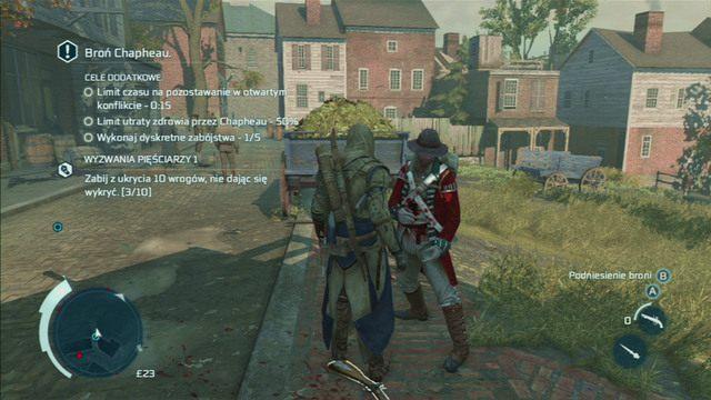Przez cały czas trwania misji idź kilkanaście metrów przed swym towarzyszem i jak tylko zobaczysz żołnierzy, zachodź ich od tyłu, a następnie po kolei zabijaj ukrytym ostrzem - Sekwencja 6 - Wściekły kucharz | Solucja Assassins Creed 3 - Assassins Creed 3 - poradnik do gry