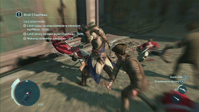 W przypadku większych grup 2-3 przeciwników pozbywaj się ukrytymi ostrzami, a następnie dobijaj pozostałych bronią palną lub błyskawicznymi kontratakami - Sekwencja 6 - Wściekły kucharz | Solucja Assassins Creed 3 - Assassins Creed 3 - poradnik do gry