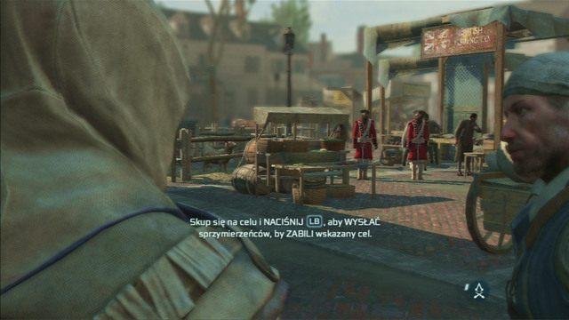 Gdy dotrzesz wreszcie do swojego głównego celu, przytrzymaj przycisk Gildii Assassynów, wybierz zabójstwo, a następnie szybko wciśnij ten sam przycisk - Sekwencja 6 - Wściekły kucharz | Solucja Assassins Creed 3 - Assassins Creed 3 - poradnik do gry