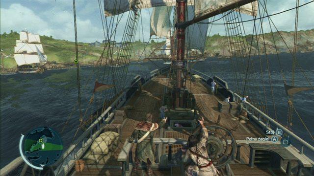 Jak b�dziesz ju� dostatecznie blisko celu, wci�nij dwukrotnie przycisk interakcji i zatrzymaj okr�t - 5 - Nauka na b��dach - Opis przej�cia - Assassins Creed III - poradnik do gry