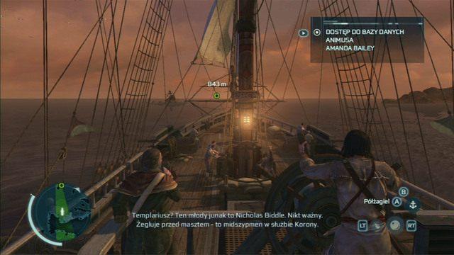 Po krótkiej animacji ponownie wyruszysz w morze, ale tym razem uzbrojony w zestaw dział - 5 - Nauka na błędach - Opis przejścia - Assassins Creed III - poradnik do gry