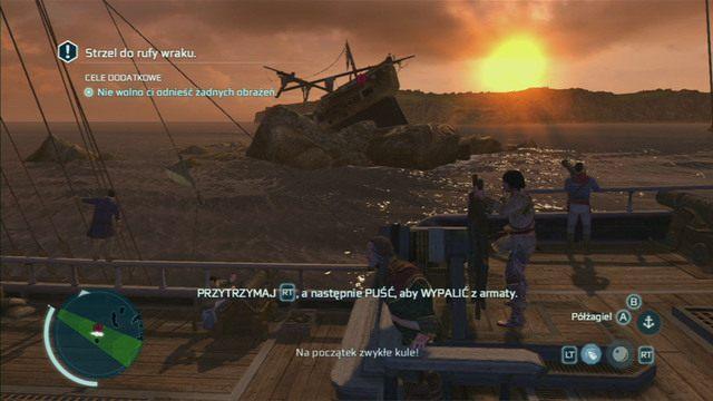 Z pierwszych strzelasz przytrzymuj�c i puszczaj�c przycisk swobodnego biegu, a drugie odpalasz przyciskiem celowania - 5 - Nauka na b��dach - Opis przej�cia - Assassins Creed III - poradnik do gry