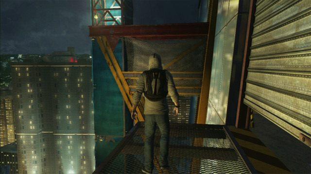 Na zewnątrz skocz w prawo i wdrap się na czerwony dźwig - 5 - Pierwsze źródło energii - Opis przejścia - Assassins Creed III - poradnik do gry
