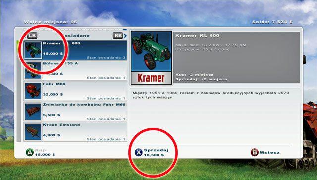 Po pierwsze sprzedaj jeden z zielonych ci�gnik�w - Pierwsza sprzeda� sprz�tu i nowy zakup - opryskiwacz - Pierwsze kroki - Farming Simulator 2013 - poradnik do gry
