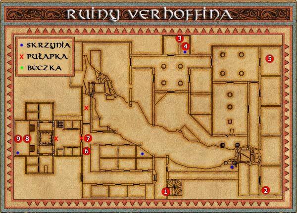 Ruiny Verhoffina to jeden z trudniejszych labiryntów i raczej niewskazane jest zapuszczanie się tutaj podczas pierwszej wizyty na wyspie, gdyż znajdujące się tu potwory w mgnieniu oka pozbawią nas życia - Wyspa Popiołów - Might & Magic IX: Writ of Fate - poradnik do gry