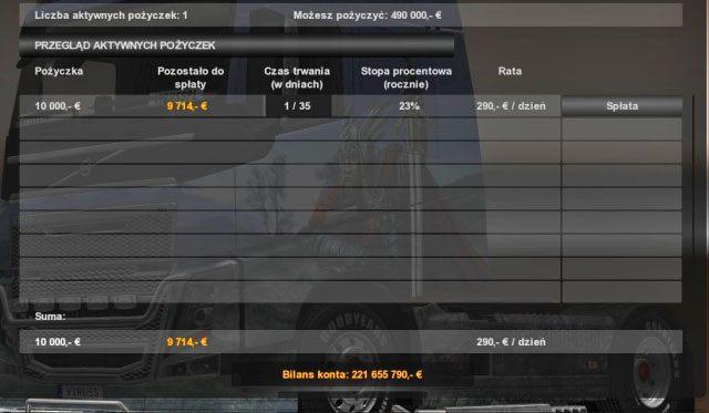 W każdej chwili możesz kontrolować w oknie banku ile rat spłaciłeś oraz ile € musisz jeszcze spłacić - Spłacanie kredytu; Ujemny stan konta - Bank - Euro Truck Simulator 2 - poradnik do gry