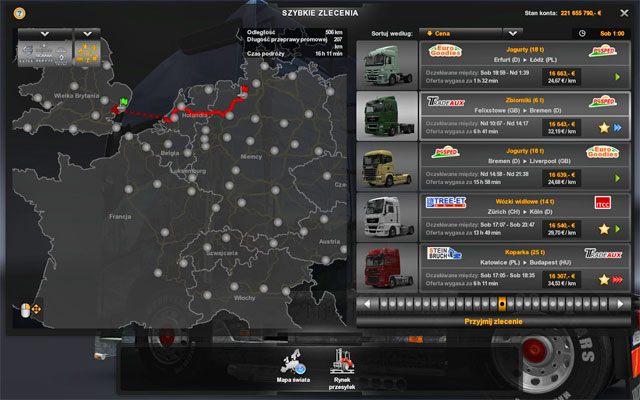 Szybkie zlecenia są dostępne od początku gry - Szybkie zlecenie - Rynek pracy - Euro Truck Simulator 2 - poradnik do gry