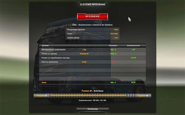 Po wykonaniu pracy zawsze widzisz podsumowanie - Szybkie zlecenie - Rynek pracy - Euro Truck Simulator 2 - poradnik do gry
