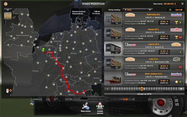 W rynku przesyłek obowiązują zbliżone zasady do szybkich przesyłek tyle, że posiadasz już swoją ciężarówkę - Przesyłki | Rynek pracy - Euro Truck Simulator 2 - poradnik do gry