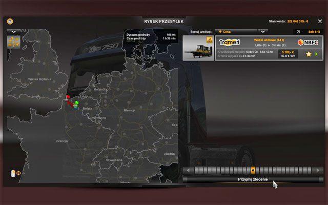 Na tej liście widzisz zlecenia dostępne tylko w tej filii firmy, do której siedziby właśnie wjechałeś - Przesyłki | Rynek pracy - Euro Truck Simulator 2 - poradnik do gry