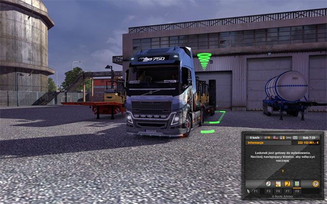 Po dotarciu do miejsca docelowego warto zaparkować przyczepę na wskazanym miejscu - nie trzeba być tu bardzo precyzyjnym - Przesyłki | Rynek pracy - Euro Truck Simulator 2 - poradnik do gry