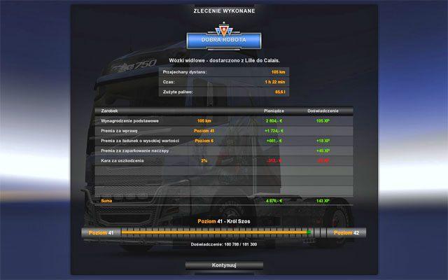 Tu także widzisz podsumowanie swojej pracy - Przesyłki | Rynek pracy - Euro Truck Simulator 2 - poradnik do gry