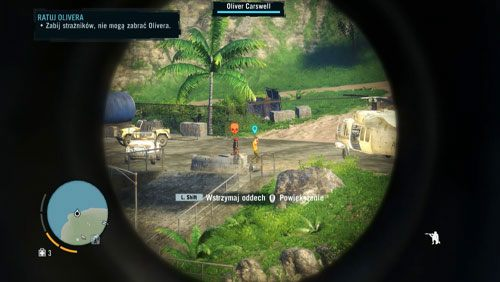 Na skarpie, po przerywniku, zostaniesz automatycznie wyposażony w karabin snajperski - Ratuj Olivera - Misje główne - Far Cry 3 - poradnik do gry