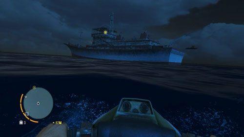 Kiedy zbliżysz się wystarczająco, sprawdź czy w wodzie nie ma rekinów i resztę dystansu pokonaj wpław/pod wodą, tak by nie zostać zauważonym przez przeciwników na pokładzie - Fragment przeszłości - Misje główne - Far Cry 3 - poradnik do gry