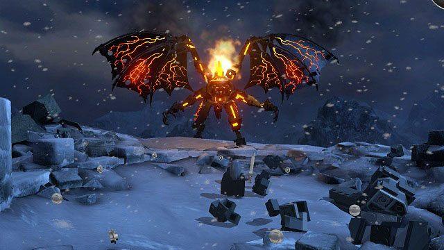 Po dotarciu na szczyt wieży, rozpocznie się ostateczny pojedynek z demonem Morgotha - Obłaskawienie Golluma - Opis przejścia - Akt II - LEGO The Lord of the Rings: Władca Pierścieni - poradnik do gry