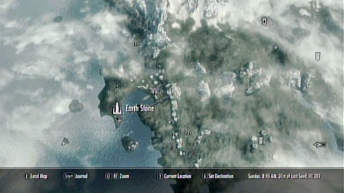 Kamień Ziemi powinieneś już kojarzyć - stoi zaraz obok Raven Rock, na niewielkim cyplu - Cleanse the Earth Stone [Oczyść Kamień Ziemi] - Cleansing the Stones [Oczyszczanie Kamieni] - The Elder Scrolls V: Skyrim - Dragonborn - poradnik do gry