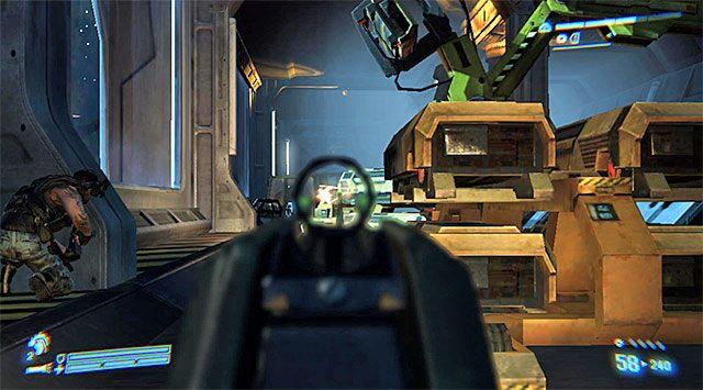 Po odblokowaniu drzwi wybierz się w stronę schodów prowadzących do szyny serwisowej i wyrusz prosto - Przejdź przez sekcję inżynieryjną na pokład dowodzenia - Misja 2 - Bitwa o Sulaco - Aliens: Colonial Marines - poradnik do gry