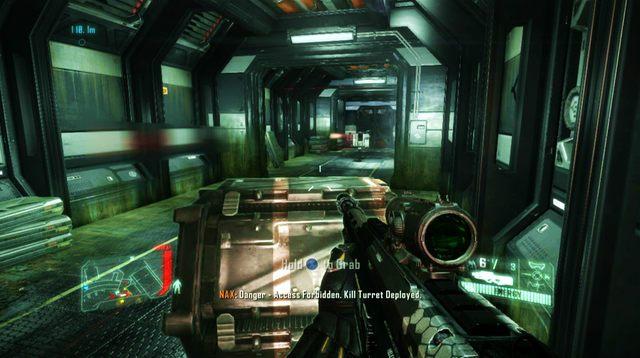 Po wejściu do środka budynku, uważaj na wiązkę lasera, której przecięcie uruchomi kolejne działko, które będziesz musiał przejąć - Zniszcz tamę - The Root of All Evil - Crysis 3 - poradnik do gry