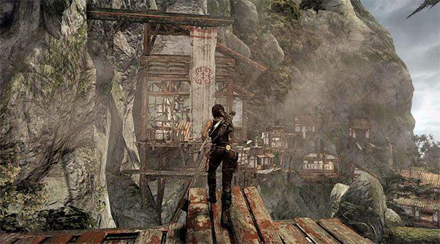 Przystąp do eksploracji nowej lokacji Cliffside Village (Wioska na ścianie klifu), podążając bardzo liniową ścieżką - Znajdź drogę powrotną do wioski w górach - 9 - Rzadziej uczęszczana ścieżka - Tomb Raider - poradnik do gry