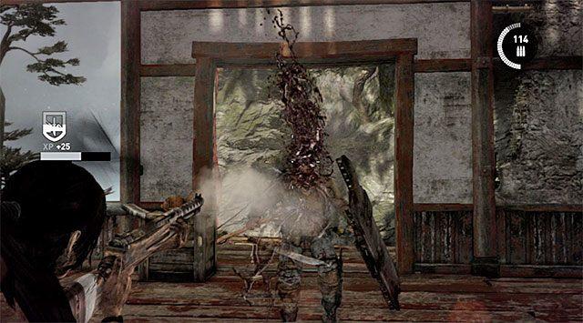 Przed Tobą nowy pojedynek z przeciwnikiem z tarczą - Znajdź drogę powrotną do wioski w górach - 9 - Rzadziej uczęszczana ścieżka - Tomb Raider - poradnik do gry