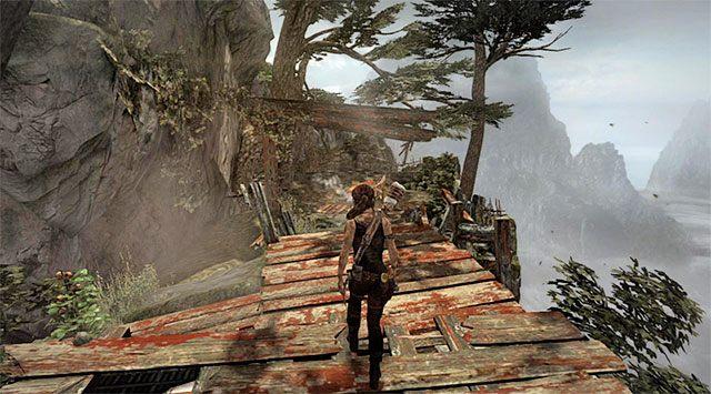Możesz wyruszyć dalej, natrafiając po kilku chwilach na nowe obozowisko (Cliffside Vista) - Znajdź drogę powrotną do wioski w górach - 9 - Rzadziej uczęszczana ścieżka - Tomb Raider - poradnik do gry