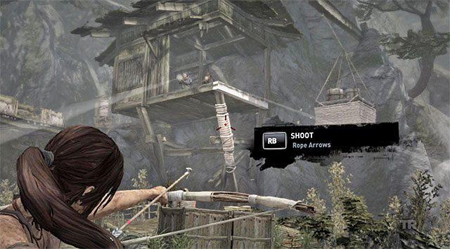 Oswobodzenie Lary nagrodzone zostanie zdobyciem liny (rope), którą od tej pory będziesz mógł używać w połączeniu z łukiem i strzałami - Spotkaj się z Rothem - 9 - Rzadziej uczęszczana ścieżka - Tomb Raider - poradnik do gry